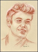 Justin Bieber Drawing Framed Prints - Justin Bieber Framed Print by Paulette Farrell