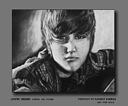 Justin Bieber Paintings - Justin Bieber portrait  by Sanjeev Babbar