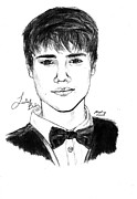 Justin Bieber Drawing Framed Prints - Justin Bieber Suit Drawing Framed Print by Kenal Louis