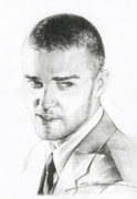 Pop Singer Framed Prints - Justin Timberlake Drawing Framed Print by Lin Petershagen