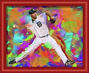 Baseball Originals - Justin Verlander Painted Frame by Donald Pavlica