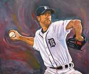 Baseball Art Print Painting Metal Prints - Justin Verlander Throws a Curve Metal Print by Nora Sallows