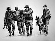 Swat Drawings Framed Prints - K-9 One in Custody Framed Print by Duncan  Way