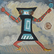 Tribes Paintings - K is for Kachina detail from Childhood Quilt painting by Dawn Senior-Trask