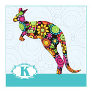 Kangaroo Paintings - K is for Kangaroo by Elaine Plesser