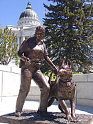 Police Sculptures - K9 Officer Bronze Memorial Statue by Lena Toritch