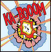 Graphic Framed Prints - Ka-Booom Framed Print by Gary Grayson