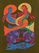 Gond Pardhan Paintings - Kaajal Machli by Durga Bai