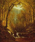 Autumn Woods Painting Prints - Kaaterskill Falls Print by Sanford Robinson Gifford