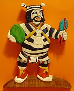 Native Sculpture Framed Prints - Kachina Clown  Framed Print by Russell Ellingsworth