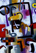 Abstract Colorful Paintings - Kaffeeklatsch by Douglas Simonson