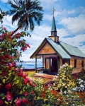 Tropics Paintings - kahaalu Church Hawaii by David Lloyd Glover