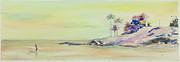 Surfing Art Painting Originals - Kailua Beach at sunset by Elena Liachenko