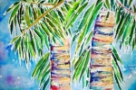 Plants Painting Prints - Kaimana Beach Print by Julie Kerns Schaper - Printscapes