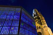 Berlin Nights Framed Prints - Kaiser Wilhelm Memorial Church Framed Print by Axiom Photographic
