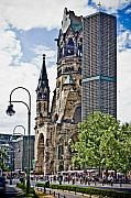 Berlin Germany Digital Art Posters - Kaiser William Memorial Church Poster by Dean Farrell