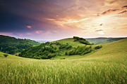 Field. Cloud Posters - Kaiserstuhl Sunset Poster by Photo by Steffen Egly