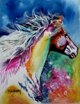 Colorful Horse Paintings - Kalaidascope by Maria Barry