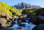 Kevin W. Smith Framed Prints - Kalalau Stream and Mountains Kauai Framed Print by Kevin Smith