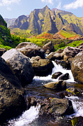 Kevin W. Smith Framed Prints - Kalalau Stream and Spires Kauai Framed Print by Kevin Smith