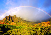 Kalalau Rainbow Framed Prints - Kalalau Sunset Rainbow Kauai Framed Print by Kevin Smith