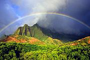 Sky Mixed Media Framed Prints - Kalalau Valley Rainbow Framed Print by Kevin Smith