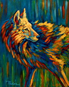 Colorful Southwest Framed Prints - Kaleidoscopic Coyote Framed Print by Theresa Paden