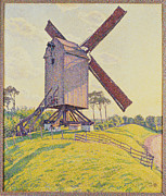 Rustic Mill Framed Prints - Kalf Mill Framed Print by Theo van Rysselberghe