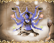 Goddess Kali Framed Prints - Kali - Elements of Color Framed Print by Liezel Rubin