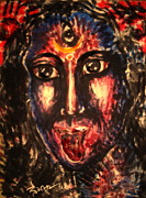 Hindu Goddess Mixed Media Metal Prints - Kali god and nice Mom  Metal Print by Sri Mala