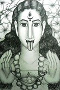 Hindu Drawings Posters - Kali god Poster by Sri Mala