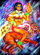 Hindu Goddess Mixed Media Metal Prints - Kali goddess Metal Print by Sri Mala