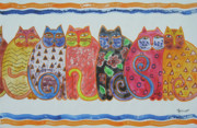Cats Originals - Kalico Kitties by Marsha Elliott