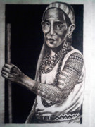Woman Pyrography Originals - Kalinga Woman by Jordan Mang-osan