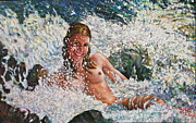 Playing Painting Originals - Kalla Playing in a Waterfall  by Robert Buono