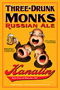 Drunk Drawings Prints - Kanalin Three Drunk Monks Print by John OBrien