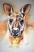 Kangaroo Paintings - Kangaroo Big Red by Sandra Phryce-Jones