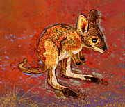 Kangaroo Digital Art Metal Prints - Kangaroo Joey Metal Print by Mary Ogle