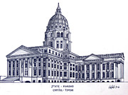 Pen And Ink Framed Prints Art - Kansas State Capitol by Frederic Kohli
