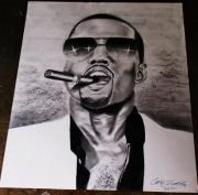 Kanye West Drawings Originals - Kanye West by Calvin Clausell