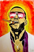 Hiphop Paintings - KanYe West by Estelle BRETON-MAYA