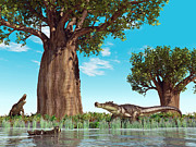 Mesozoic Era Posters - Kaprosuchus Crocodyliforms Poster by Walter Myers