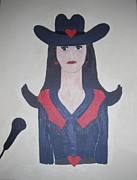 Cowgirl Prints Paintings - Karaoke Cowgirl by Jeannie Atwater Jordan Allen