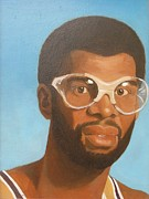 Athletes Painting Prints - Kareem Print by Nigel Wynter