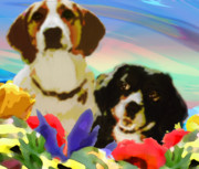 Collie Digital Art Posters - Karens Kids Poster by Karen McEwen
