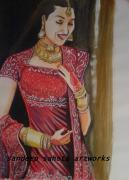 Independence Day Drawings - Karisma Kapoor by Sandeep Kumar Sahota
