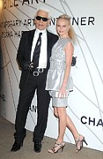 Fashion Designer Framed Prints - Karl Lagerfeld, Kate Bosworth Wearing Framed Print by Everett