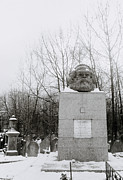 Karl Marx Prints - Karl Marx grave in Highgate Cemetery in London in UK Print by Shaun Higson