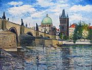 Prague Painting Framed Prints - Karlov Most Pargue Czech Republic 2001.  Framed Print by Enver Larney