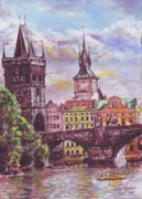 Prague Pastels Framed Prints - Karluv most a Novotneho lavka  Framed Print by Gordana Dokic Segedin